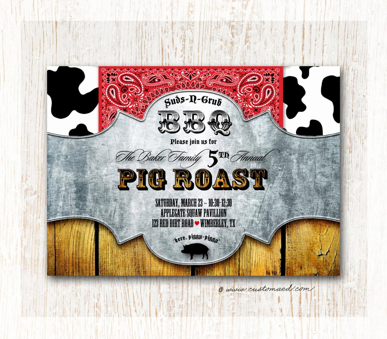 bbq pig roast invitation family reunion