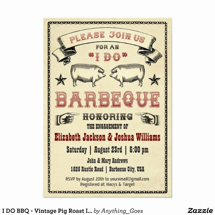 Pig Roast Invitation Template Free Beautiful I Do Bbq Vintage Pig Roast Invitation