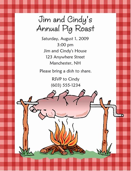 Pig Roast Invitation Template Free Beautiful Pig Roast Bbq Barbeque Party Invitations