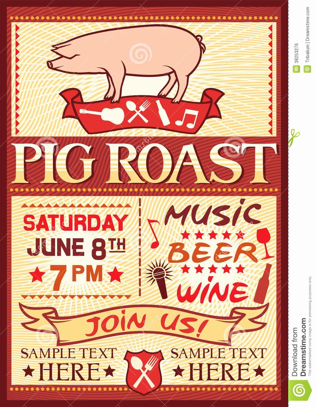 Pig Roast Invitation Template Free Beautiful Pig Roast Poster Stock Vector Illustration Of Fire