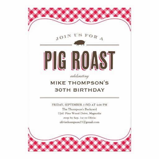 "Pig Roast Invitation Template Free Beautiful Pig Roast Table Cloth Invitations 5"" X 7"" Invitation Card"