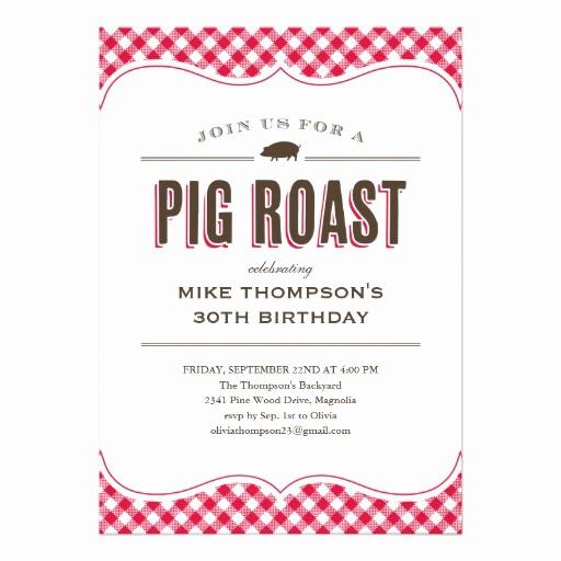 """Pig Roast Invitation Template Free Beautiful Pig Roast Table Cloth Invitations 5"""" X 7"""" Invitation Card"""