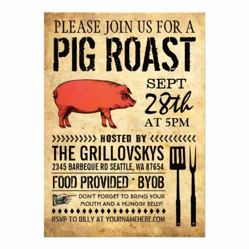 "Pig Roast Invitation Template Free Best Of Vintage Rustic Pig Roast Invitation Ii 5"" X 7"" Invitation"