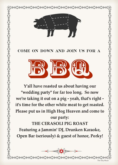 Pig Roast Invitation Template Free Elegant the Cerasoli Pig Roast Line Invitations & Cards by