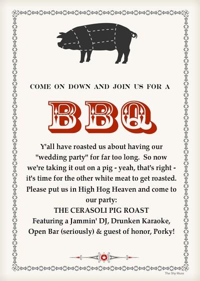 Pig Roast Invitation Template Free Elegant the Cerasoli Pig Roast Line Invitations & Cards by