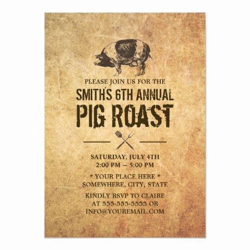 Pig Roast Invitation Template Free Fresh Vintage Grunge Pig Roast Bbq Party Invitations