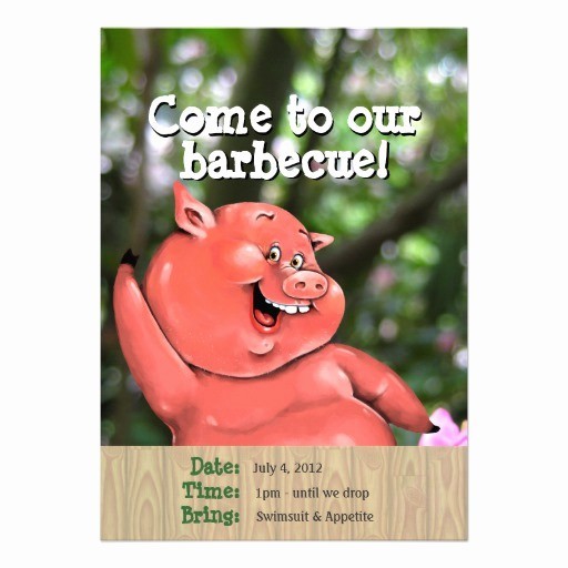 Pig Roast Invitation Template Free Fresh Zany Pig Roast Summer Barbecue Custom Template 5x7 Paper