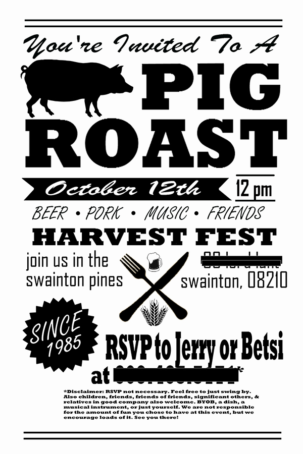 Pig Roast Invitation Template Free Inspirational Pig Roast Party Invitation Flyer Post Card On Behance
