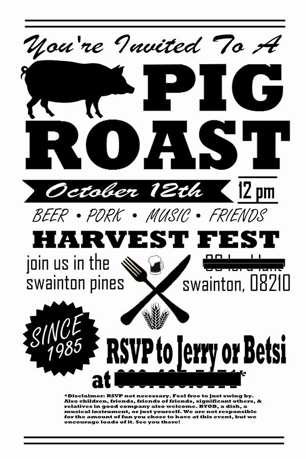Pig Roast Invitation Template Free Inspirational Pig Roast Party Invitation Flyer Post Card On Behance