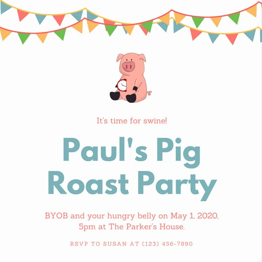 Pig Roast Invitation Template Free Lovely Pig Roast Invitation Template – orderecigsjuicefo