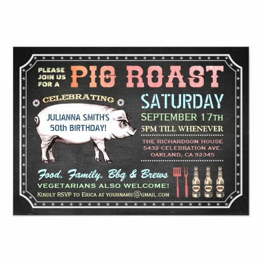 Pig Roast Invitation Template Free Luxury Chalkboard Pig Roast Invitations Classy & Casual