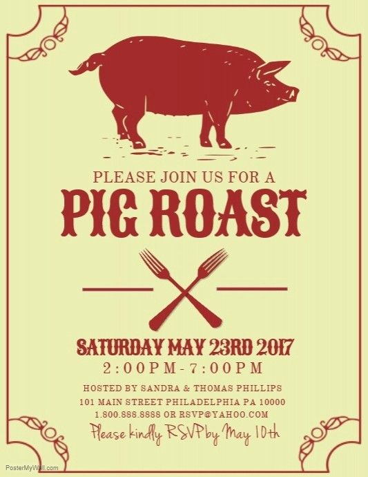 Pig Roast Invitation Template Free Luxury Pig Roast Design to Pin On Pinterest Pinsdaddy