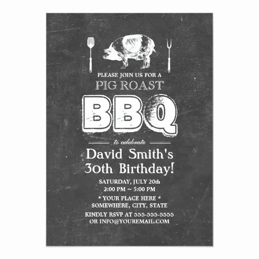 Pig Roast Invitation Template Free Luxury Vintage Chalkboard Pig Roast Bbq Birthday Party 5x7 Paper