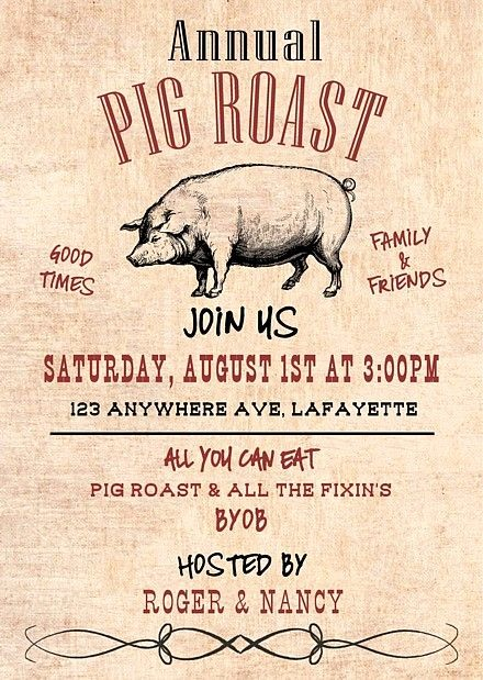 Pig Roast Invitation Template Free New 32 Best Pig Roast Invitations Images On Pinterest