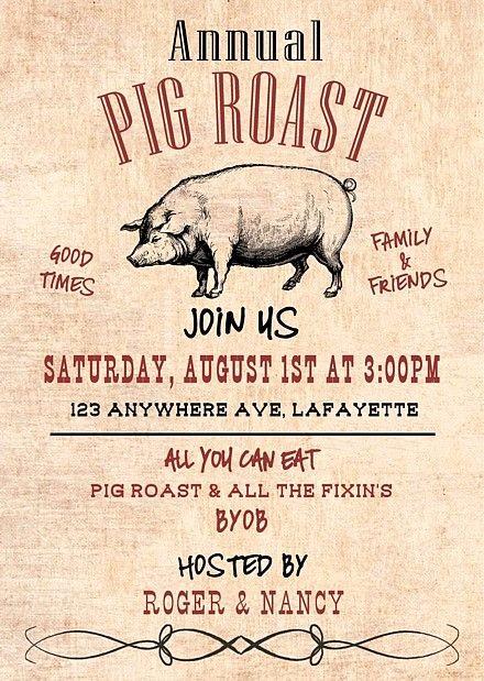 Pig Roast Invitation Template Free New 32 Best Pig Roast Invitations Images On Pinterest