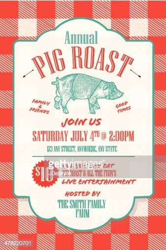 Pig Roast Invitation Template Free New Bbq Tablecloth Pig Roast Picnic Invitation Design Template