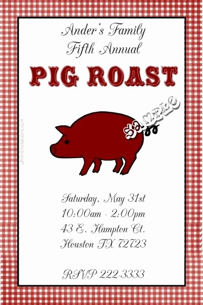 Pig Roast Invitation Template Free Unique Pig Hog Roast Invitations Bbq Birthday Invitations Get