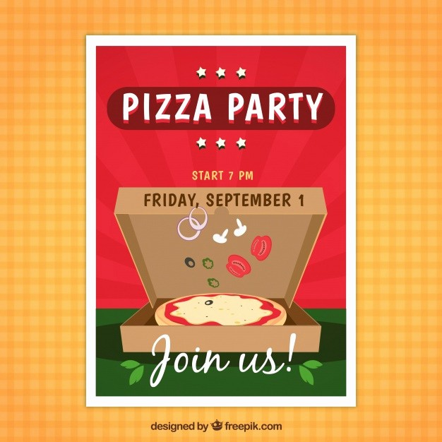 Pizza Party Flyer Template Free Awesome Pizza Party Flyer Vector