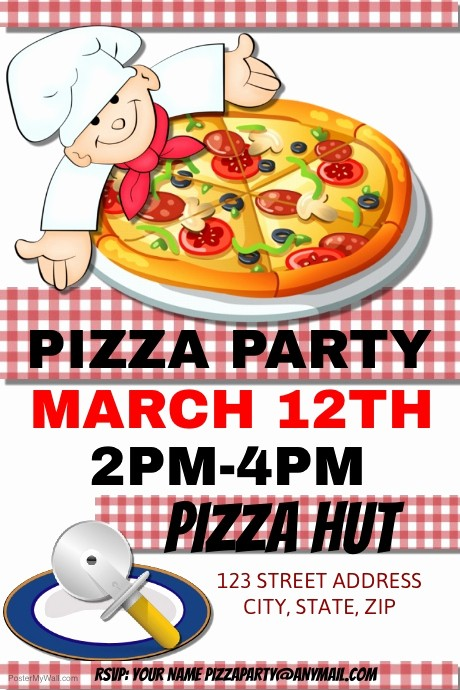Pizza Party Flyer Template Free Awesome Pizza Party Template