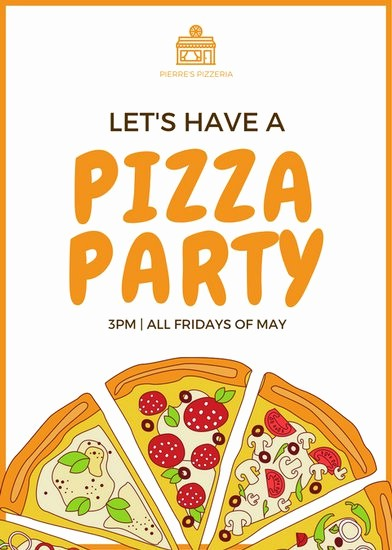 Pizza Party Flyer Template Free Inspirational orange Pizza Party Flyer Templates by Canva