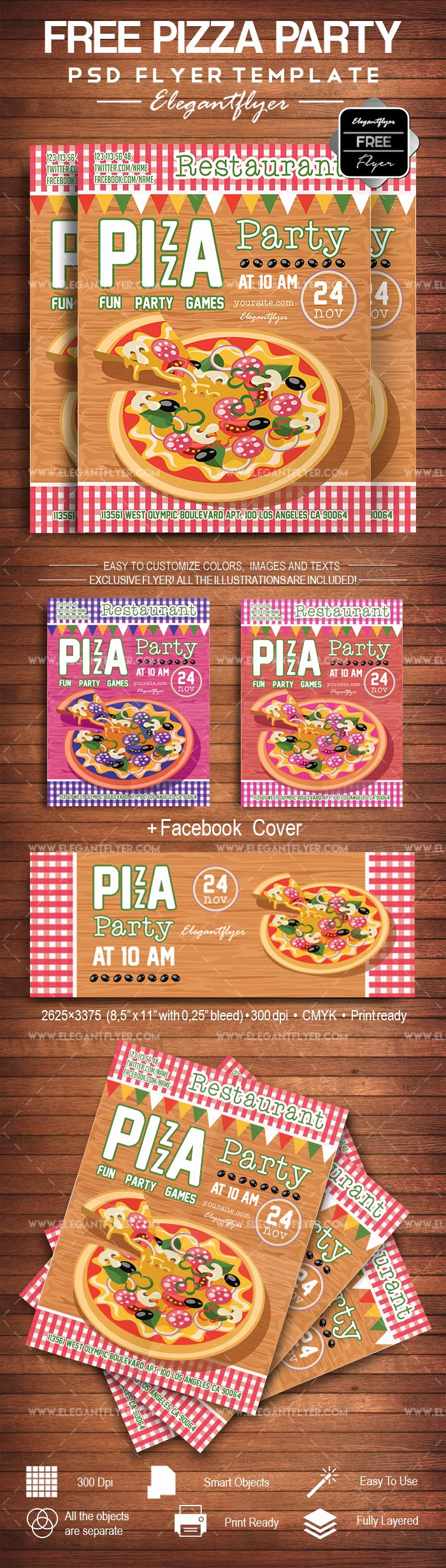 Pizza Party Flyer Template Free Lovely Pizza Party Free Flyer Psd Template – by Elegantflyer