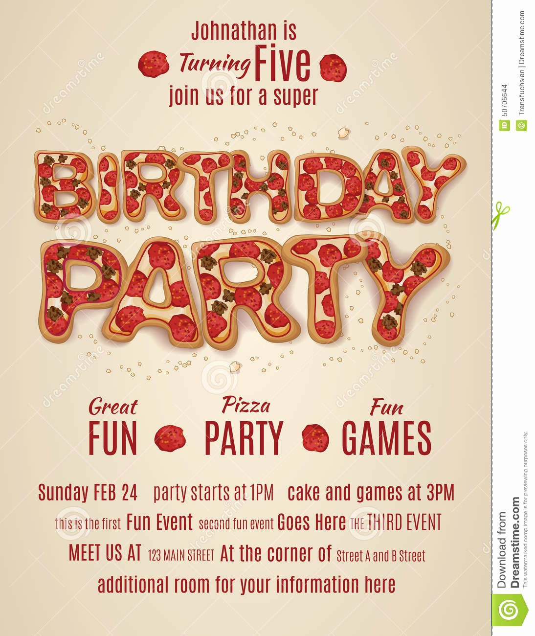 Pizza Party Flyer Template Free Unique Birthday Party Invitation Template with Pizza Letters