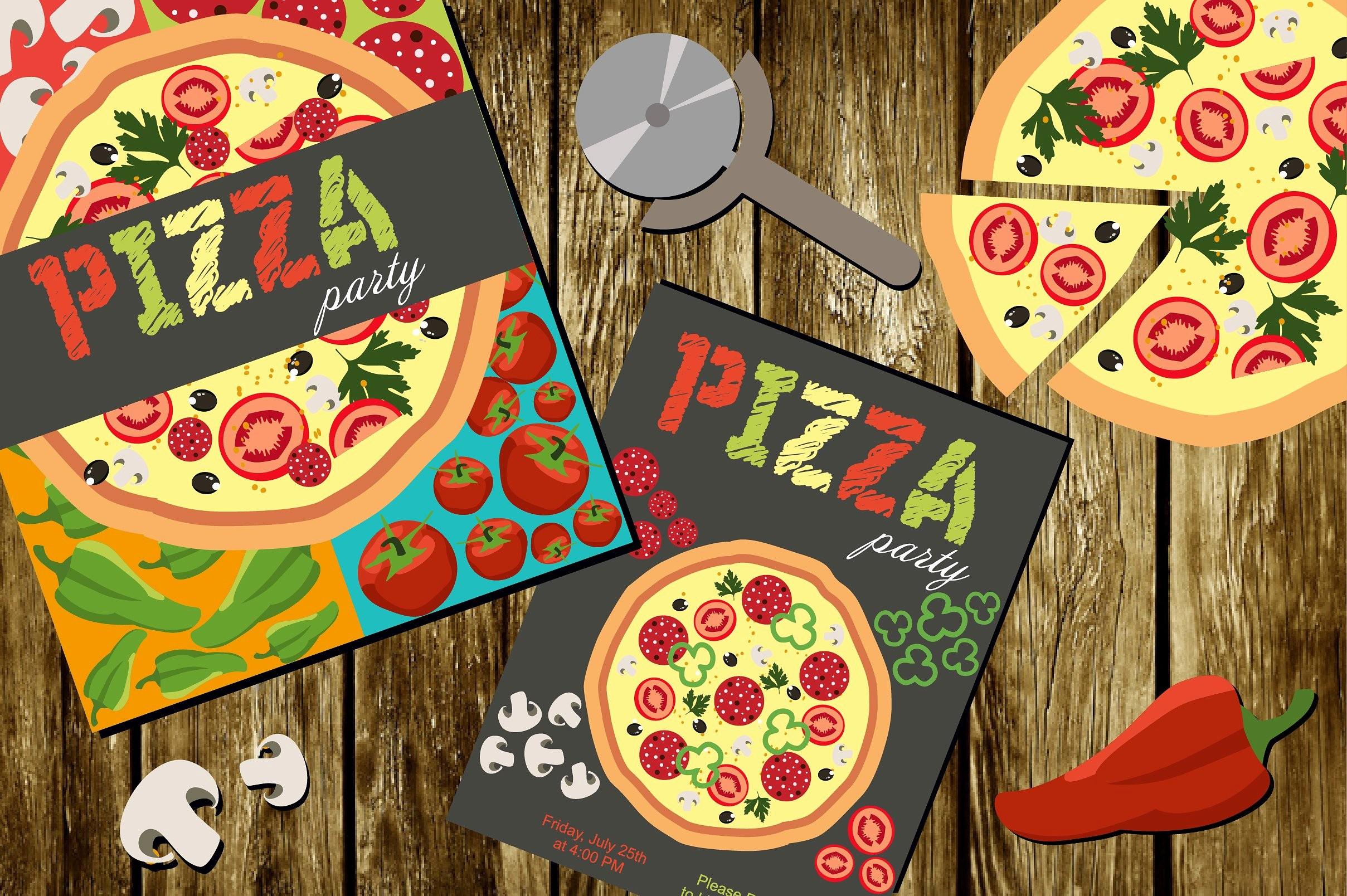 Pizza Party Flyer Template Free Unique Pizza Party Illustrations Creative Market