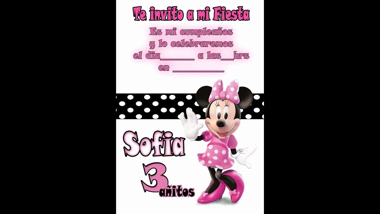 Plantillas De Cumpleaños Para Editar Awesome Invitación De Cumpleaños Minnie Mouse
