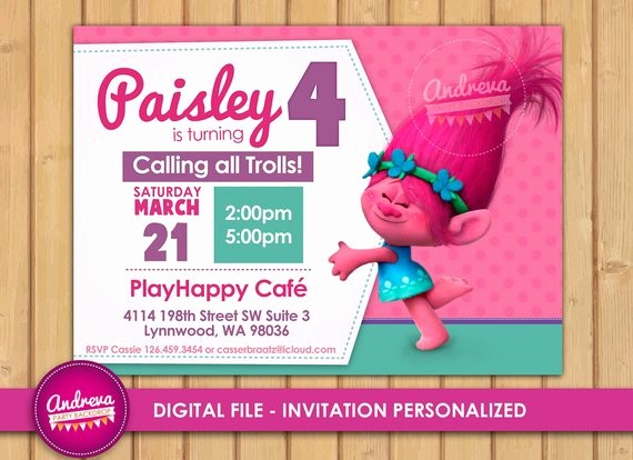 Plantillas De Cumpleaños Para Editar New Invitación Cumpleaños Trolls Para Imprimir Troll Poppy