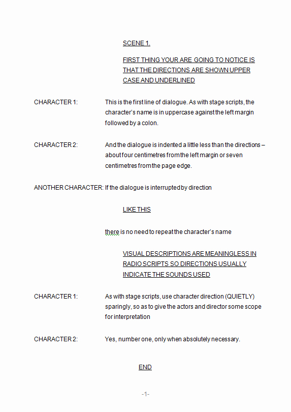 Play Script format In Word Awesome formatting Scripts 3 Radio