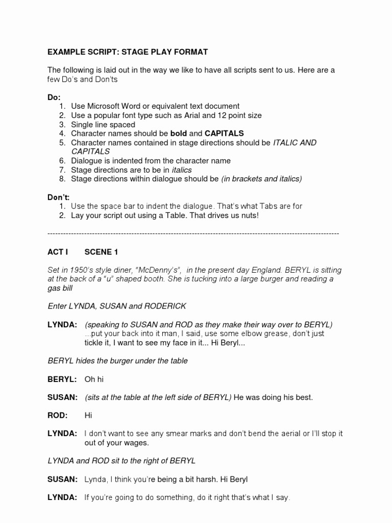 Play Script format In Word Beautiful Examples Of Stage Play Scripts