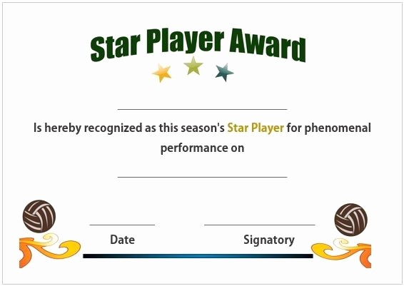 Player Of the Game Certificate Awesome 19 Best Images About Volleyball Certificates Free