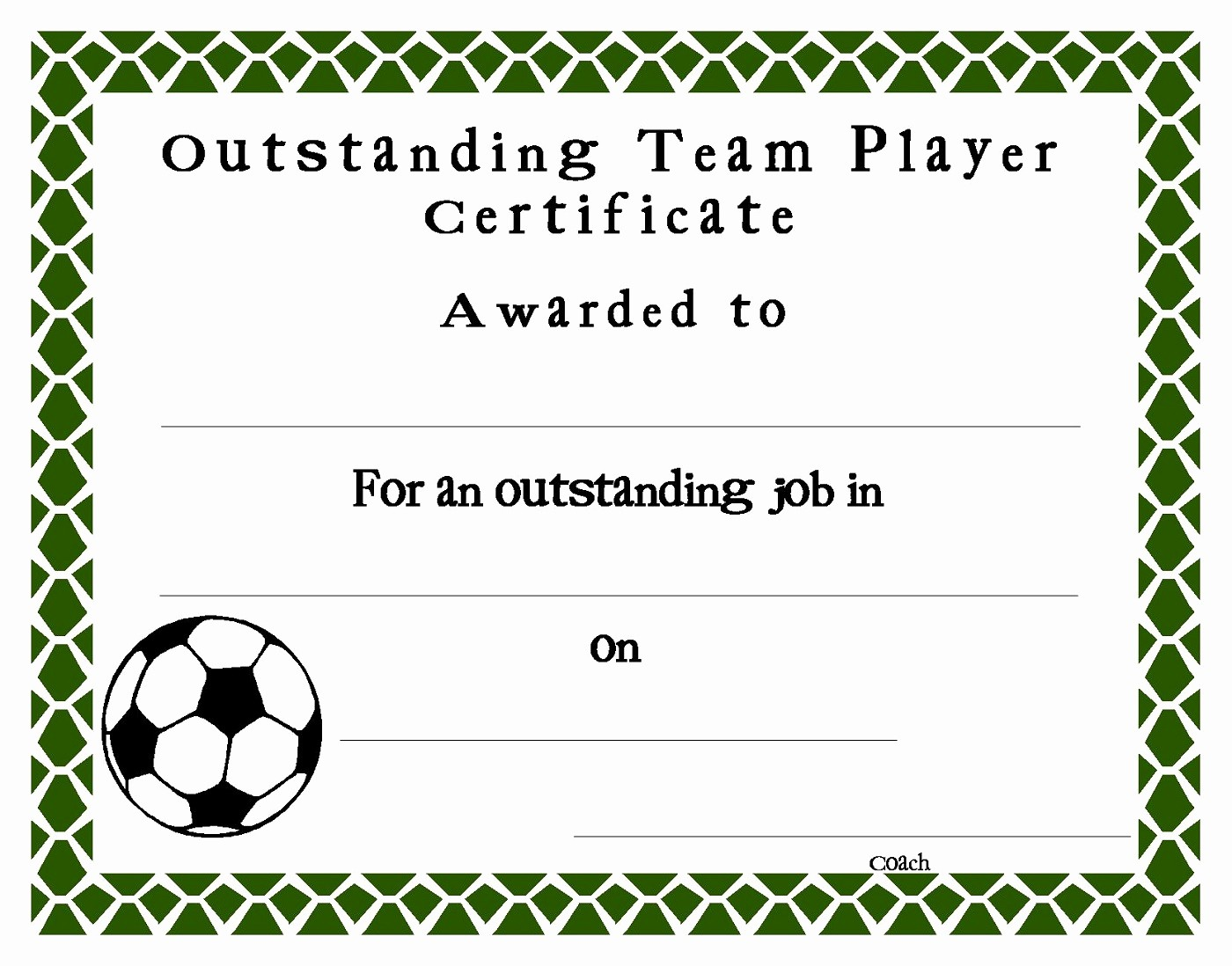 Player Of the Game Certificate Awesome soccer Certificate Templates Printable