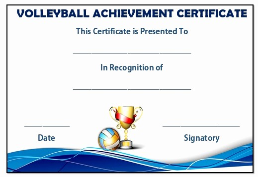 Player Of the Game Certificate Beautiful 25 Volleyball Certificate Templates Free Printable