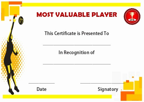 Player Of the Game Certificate Best Of 25 Volleyball Certificate Templates Free Printable