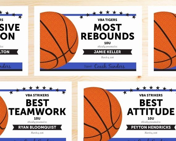 Player Of the Game Certificate Best Of Editable Basketball Award Certificates Instant Download