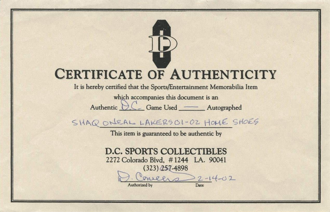 Player Of the Game Certificate Best Of Lot Detail 2001 02 Shaquille O Neal Game Used Player