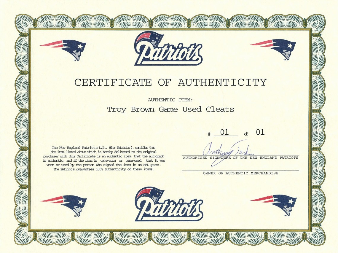 Player Of the Game Certificate Best Of Troy Brown Signed and Inscribed Game Worn Cleats From the
