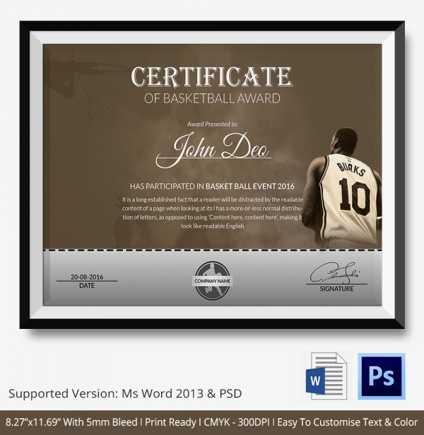 Player Of the Game Certificate Elegant Basketball Certificate Template 14 Free Word Pdf Psd