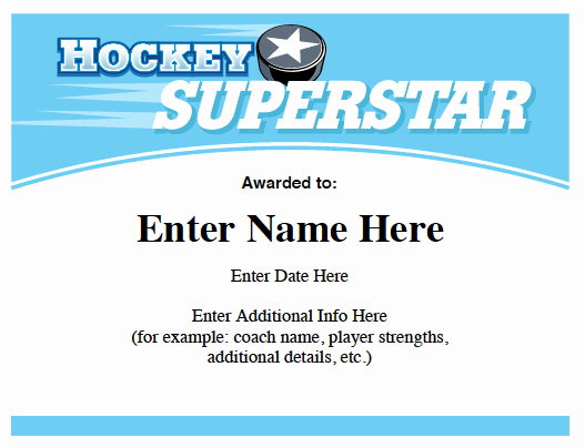 Player Of the Game Certificate Elegant Hockey Certificates Templates
