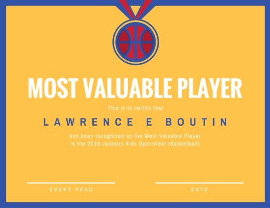 Player Of the Game Certificate Inspirational Certificate Templates Canva