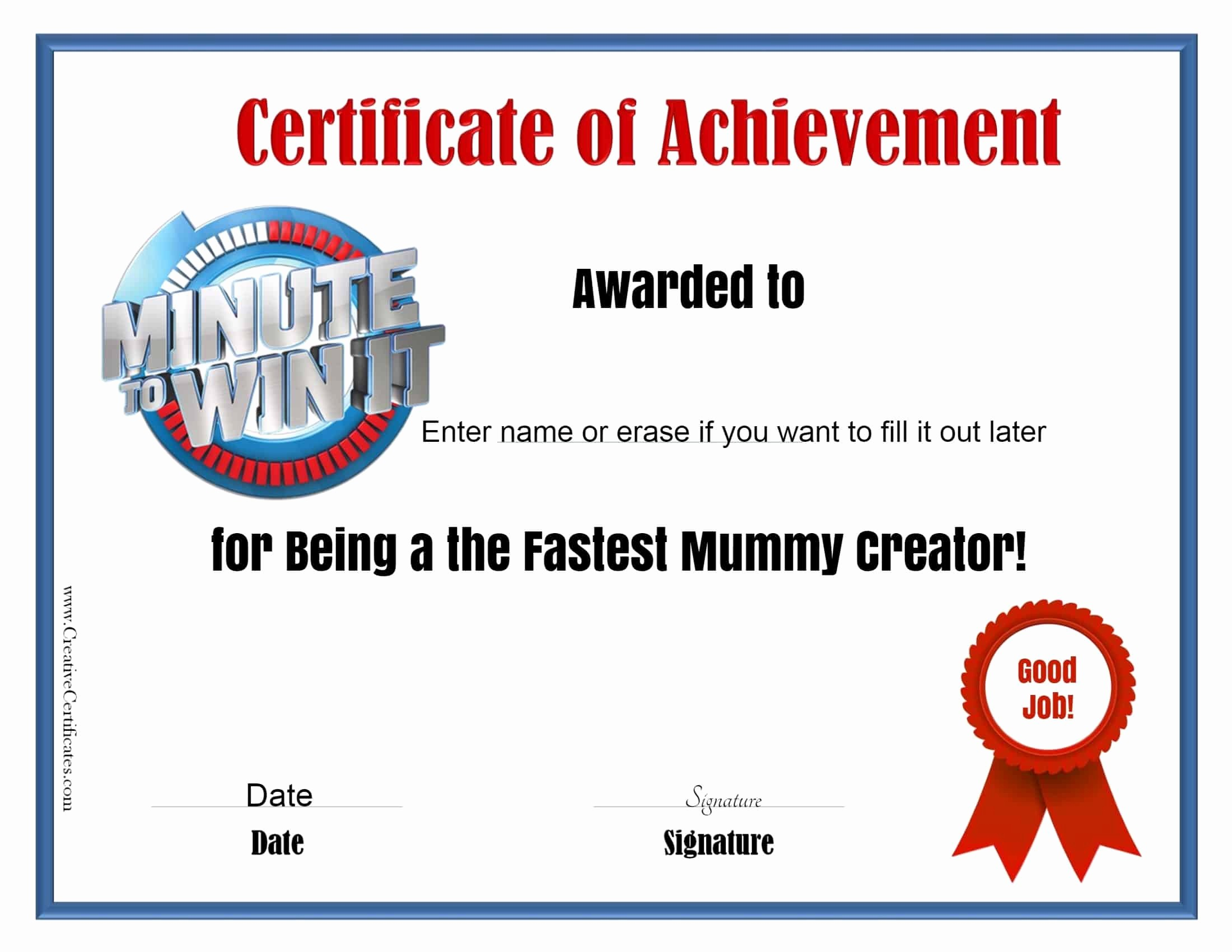 Player Of the Game Certificate Lovely Minute to Win It Games Free Printables