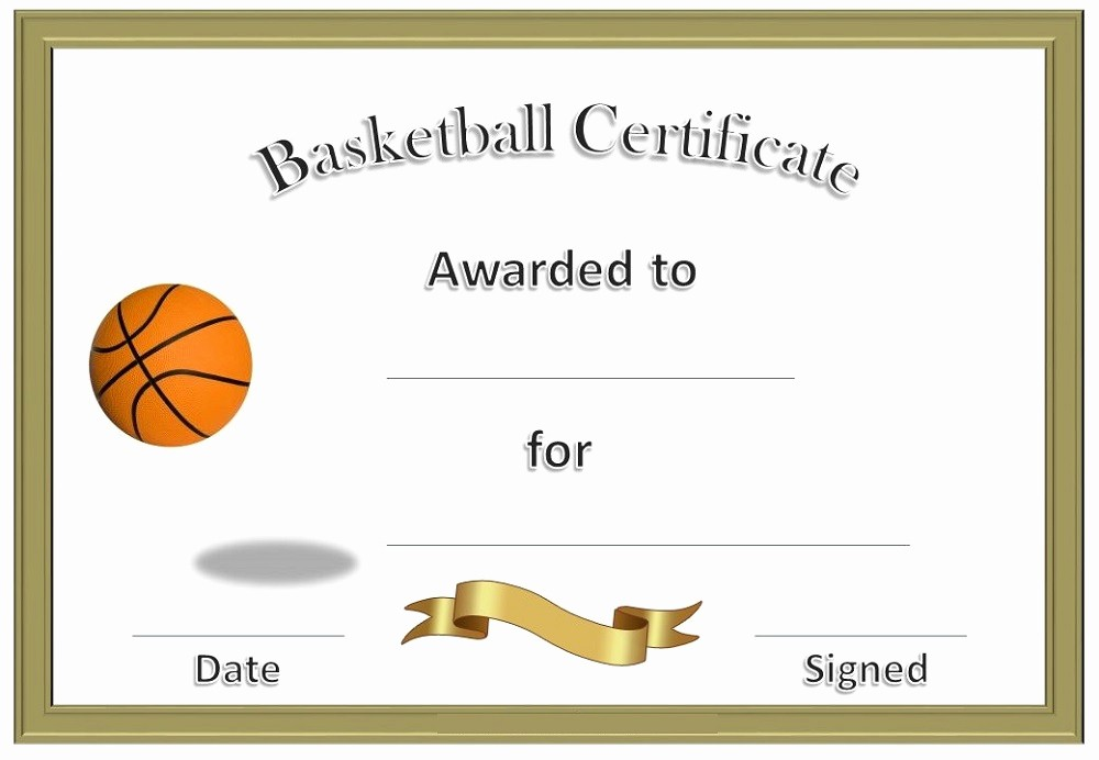 Player Of the Game Certificate New Basketball Awards Certificates