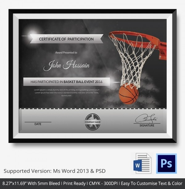 Player Of the Game Certificate New Basketball Certificate Template 14 Free Word Pdf Psd