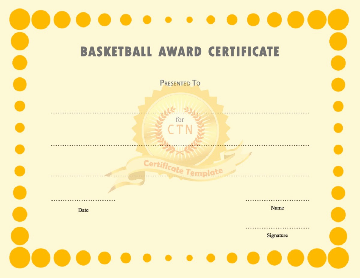 Player Of the Game Certificate Unique Basketball Award Certificates