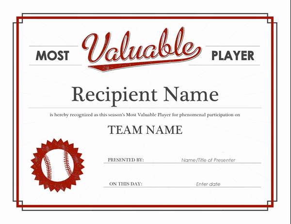 Player Of the Game Certificate Unique Most Valuable Player Award Certificate