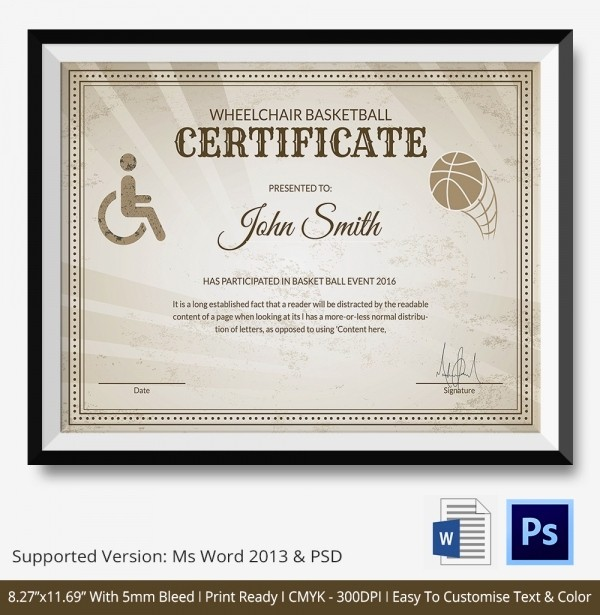 Player Of the Game Certificates Awesome Basketball Certificate Template 14 Free Word Pdf Psd