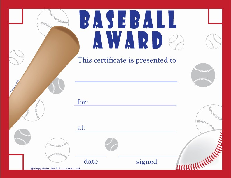 Player Of the Game Certificates Awesome Free Baseball Certificates Certificate Free Baseball