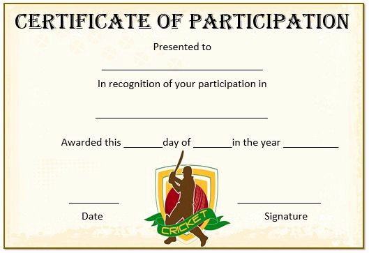 Player Of the Game Certificates Beautiful 22 Well Designed Cricket Certificate Templates Free Word