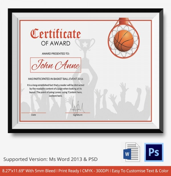 Player Of the Game Certificates Beautiful Basketball Certificate Template 14 Free Word Pdf Psd